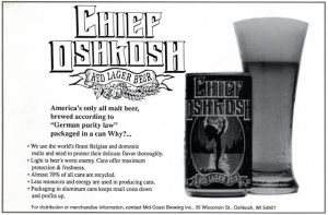 Chief Oshkosh Red Lager Can Mid-Coast Brewing